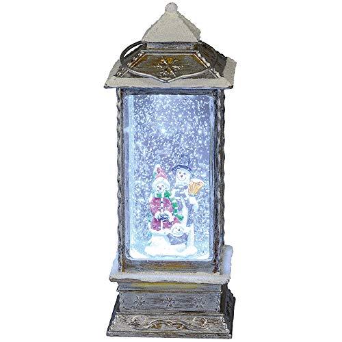 Formano Deko Laterne aus Kunststoff mit LED-Beleuchtung Wasserfüllung mit Glitzer, 27x10,5cm, grau, weiß, 1 Stück