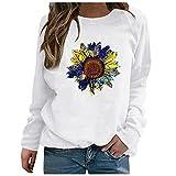 Julhold Sweatershirt para mujer patrón especial impresión contraste color manga larga sólido casual blusa suéter abrigo, Blanco-18, L