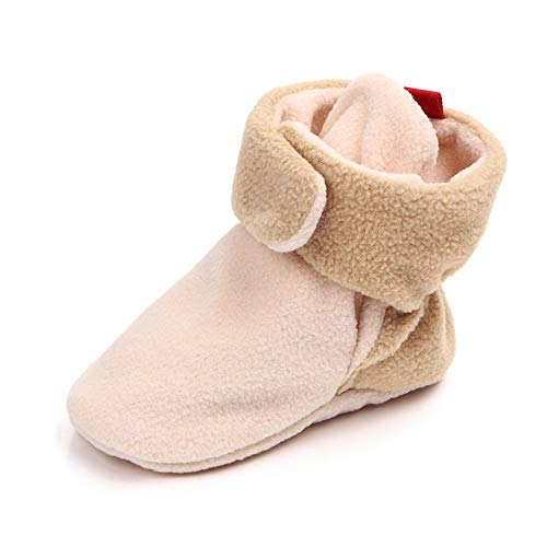 Greceen Newborn Baby Girls Boys Cozy Booties Non-Slip Infant Slippers Winter Warm Socks Crib ShoesShoes(103 6-12 Months Cream/Tan)