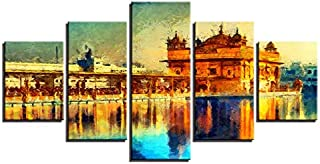 ZHFFYY Canvas Painting 5 Pieces Canvas Pictures Living Room HD Prints Posters 5 Pieces Golden Temple Landscape Abstract Paintings Home Decor Wall Art Framework