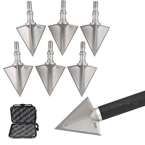 MILAEM 6 Piezas de Metal Tiro con Arco Punta Ancha 100 Grano 3 Cuchillas fijas Caza Exterior Tornillos de Flecha Puntas de Flecha Punto para Flechas de Arco Compuesto y recurvo