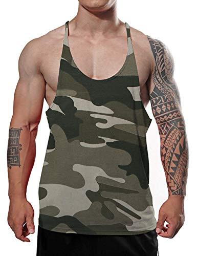 GYMAPE Canotta da Palestra da Uomo Allenamento di Bodybuilding Elastico Canotta Cotone Puro Color CamoGreen Size L