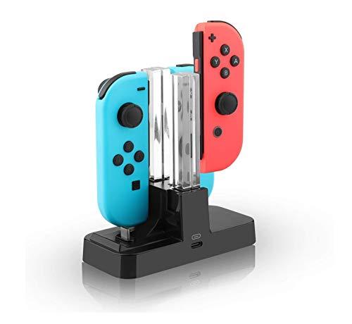 Invero Support de station de charge 4 en 1 pour manettes Nintendo Switch Joy-Con/Pro et console avec indicateurs LED individuels
