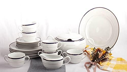 Franquihogar - Vajilla completa blanca azul cobalto con filo de oro - 6 platos llanos + 6 tazones de consomé + 6 platos postre + 1 plato de presentación + 1 sopera + salsera   Sonata