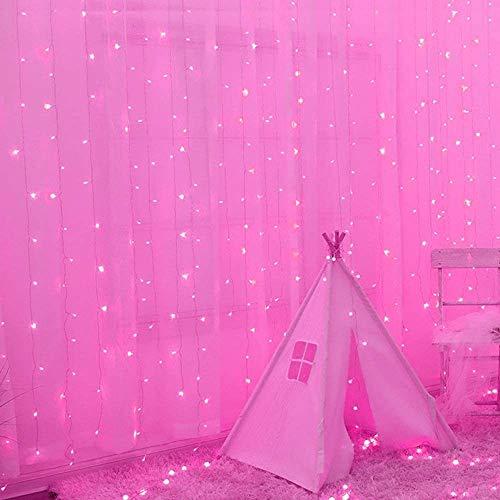 3-30m intermitente de malla de Navidad Luz de Navidad Luz Net, Valla Telón de fondo LED luces de cadena de 8 modos de cortina de luz de las luces decorativas de interior al aire libre púrpura / rosa