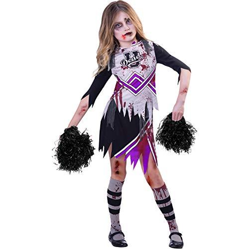 amscan Disfraz de animadora zombi púrpura para niñas (edad 7-8 años)