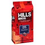 Hills Bros Dark Satin Whole Bean Coffee, Dark Roast - 100% Arabica Coffee Beans – Full-Bodied Dark Blend Coffee with Bold Flavor, Intensity and a Smooth Finish (32 Oz. Bag)