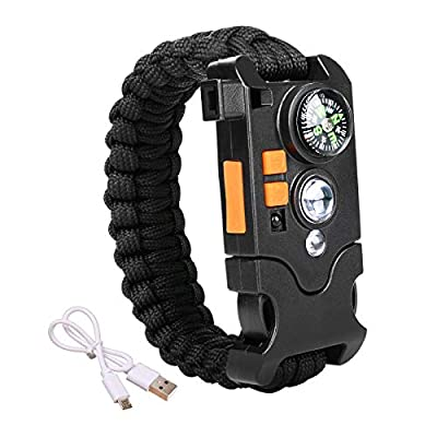 WEREWOLVES Paracord Bracelet Outdoor Survival Emergency Rechargeable with Induction LED Flashlight, Compass, Emergency Loud Whistle, Multifunctional Umbrella Rope Braided Bracelet