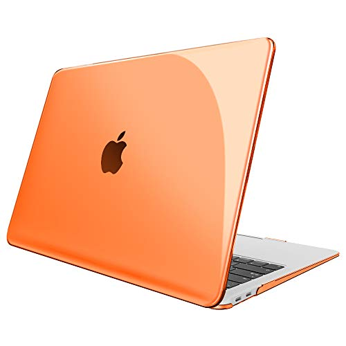 FINTIE Case for MacBook Air 13 Inch (2020 & 2019 & 2018 Release) A2179 / A1932 - Protective Snap On Hard Shell Cover for New MacBook Air 13 Retina Display with Touch ID, Crystal Orange