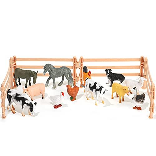 Set de 12 Figuras de Animal Granja con Valla Animal de Granja de Plástico Juguete de Animal Granja Realista Valla Animal Sólida de Granja Set de Juguete de Granjero Miniatura para Navidad