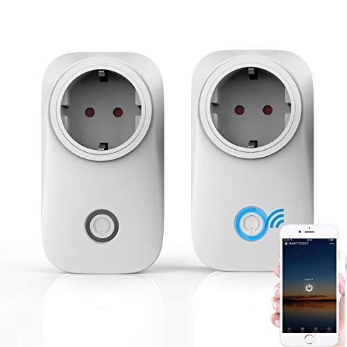 Smart Wifi Steckdose, WLan 2,4Ghz Switch, Intelligente Zeitschaltuhr Wecker, Smart Home Fernsteuerung 10A, Kompatibel mit Alexa&Google Home (2 Pack)