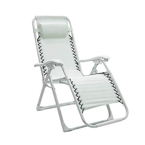 Sedia sdraio pieghevole esterno reclinabile - zero gravity con poggiatesta per il tuo relax (Bianco)