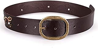 Happy-L Elegant Beautiful Pin Buckle Female Decoration Belt Vintage Embroidered Embossed Pearl Rhinestone Belt (Color : Coffee, Size : 80-100cm)