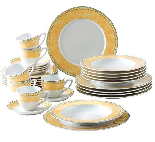 Kahla 040866M73996C Yvonne Gelb Komplettset Porzellanservice Geschirrset für 6 Personen 30-teilig Tassen Untertassen Teller Suppenteller Dessertteller weiß Blumen