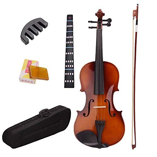 BKAUK 4/4 Akustische Violine Geige mit Koffer Bogen Kolophonium Dämpfer Aufkleber