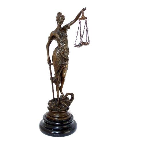 Pequeño roman-bronze-justitia con báscula de espada auténtica bronce