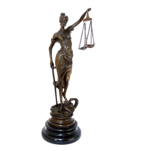 Kunst & Ambiente - Kleine Romeinse bronzen figuur - Justitia - met zwaard + weegschaal - Echte brons - Justitia kopen - bronzen figuren kopen
