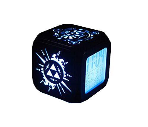 QMMCK 3D stereo wekker stil LED-nachtlampje creatieve elektronische zeven kleuren wekker van Zelda -USB opladen