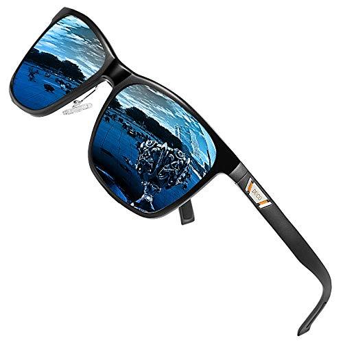 DUCO Metall Sonnenbrille Eckig Unisex Polarisierte Sonnenbrille mit UV400 Schutz für Outdoor Sports 3029H (Schwarz/Blau)