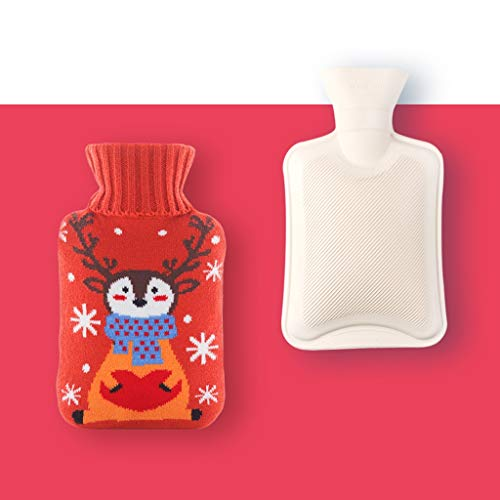Warm waterzak met zachte jas van pluche – Kerstmis mos – rubber, draagbaar, warm, waterspuitzak