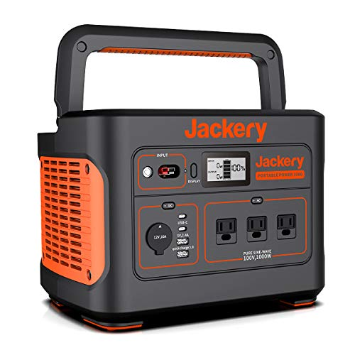 Jackery Portable Power Supply, 1000 Ultra Large Capacity 278400 mAh / 1002 Wh, Backup Power Supply, PSE Certified, Genuine Sine Wave, MPPT Control System, AC (1000 W, Maximum 2000 W), DC/USB Output, 4 Charging Methods, Large LCD Screen Display, Suitable for Sleeping in Car, Camping, Outdoors, Emergencies 4 Month Warranty