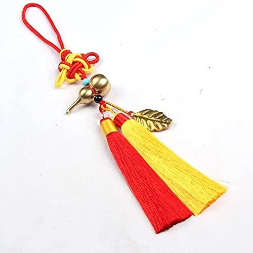 fafafa Borla de nudo chino con flecos para ropa, colgante de tela de costura, bolsa decorativa para llaves de coche, borlas, accesorios para decoración del hogar (color: rojo, amarillo, tamaño: 33 cm)