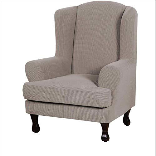 WDDMFR Stretch-Ohrensesselbezüge, Möbelbezüge für Ohrensessel, Möbelbezug mit weichem, dickem, kariertem Jacquard-Stoff, waschbar, mit elastischem Boden