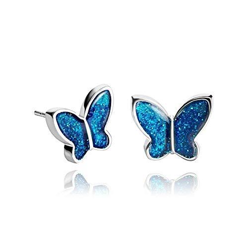 Pendientes Elegante Mariposa Azul Oscuro Regalo De Navidad