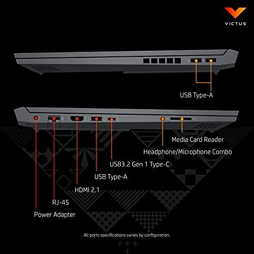 Victus by HP Ryzen 5 5600H 16.1-inch(40.9 cm) FHD Gaming Laptop (8GB RAM/512GB SSD/4GB Radeon RX5500M Graphics/Flicker Free Display/Windows 10/MS Office/Mica Silver/2.48 Kg), 16-e0162AX, Black
