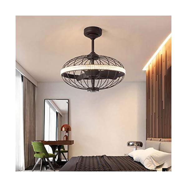 WDXLT-Conversin-De-Frecuencia-Mudo-Luz-del-VentiladorJaula-Vintage-Reversible-Motor-Luz-del-Ventilador3-iluminacin-De-Color-Luz-del-Ventilador-Marrn-Mando-A-Distancia-Bluetooth