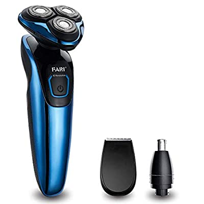 FARI Electric Razor Shaver for Men, Multi-Functional Wet & Dry Waterproof Cordless Travel Rotary Shaver, Beard Trimmer and Nose Hair Trimmer for Men with USB Charging, Blue from wzjiaheyuan