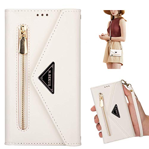 Kompatibel mit Xiaomi Redmi Note 9 Pro/Redmi Note 9S Hülle, Brieftasche Handyhülle Leder Wallet Case Schutzhülle Geldbörse Tasche 5 Kartenfächer Reißverschluss Handschlaufe Handytasche Klapphülle,Weiß