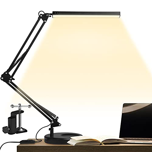 GUUKIN LED Desk Lamp with Clamp and Round Base , Eye Caring Table Lamp with Swing Arm, 3 Color Modes 10 Brightness Levels, Memory Function, Desk Light for Home Office with Adapter