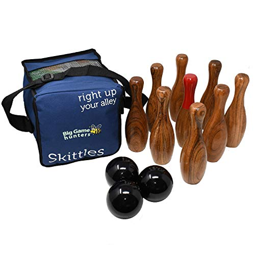 Big Game Hunters 206 Wooden Skittles Premium 9 Pin Polished Hardwood Set in a Handy Carry Bag