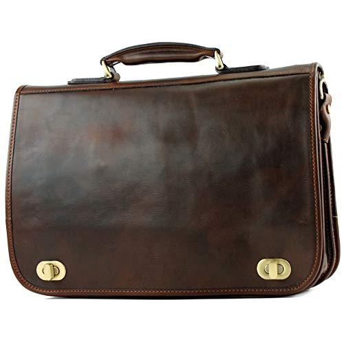 modamoda de - A014 - ital. Business Laptop Akten Tasche Leder, Farbe:A014 Dunkelbraun