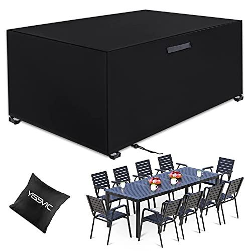 YISSVIC Cubierta de Muebles de Jardín Fundas de Muebles Impermeable Resistente al Polvo Anti-UV Protección Exterior Muebles de Jardín 242x162x100cm
