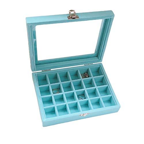 Wilany Joyero de cristal de terciopelo para joyas con cierre