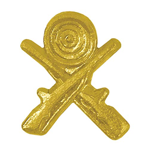 Express Medals Die-Stamped Solid Medal Gold Finished Crossed Rifles Chenille Lapel Pin with Clutch Back