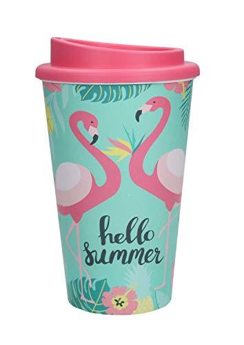 elasto Kaffeebecher to-Go aus Doppelwandigem Kunststoff im Flamingo-Design 350ml Coffee-to-Go Reisebecher mit Deckel Wiederverwendbarer Trinkbecher (Deckel Bubblegum)