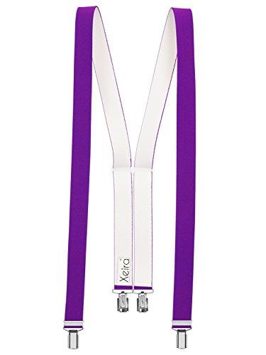 Xeira Hochwertige Hosenträger in Trendigen Uni & Neon Farben mit 4 Clips-Lila