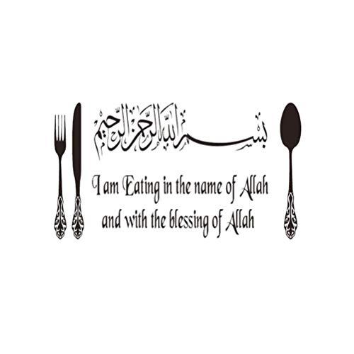 Garneck islamische wandaufkleber zitate gabel muster abnehmbare muslimische arabische wandtattoo hause fenster deckendekor abnehmbare aufkleber für zu hause küche