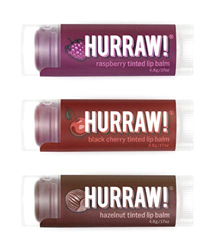 Hurraw! Raspberry Tinted, Black Cherry Tinted, Hazelnut Tinted Lip Balms, 3 Pack Bundle: Organic, Certified Vegan, Cruelty & Gluten Free. Non-GMO, 100% Natural. Bee, Shea, Soy & Palm Free. Made in USA