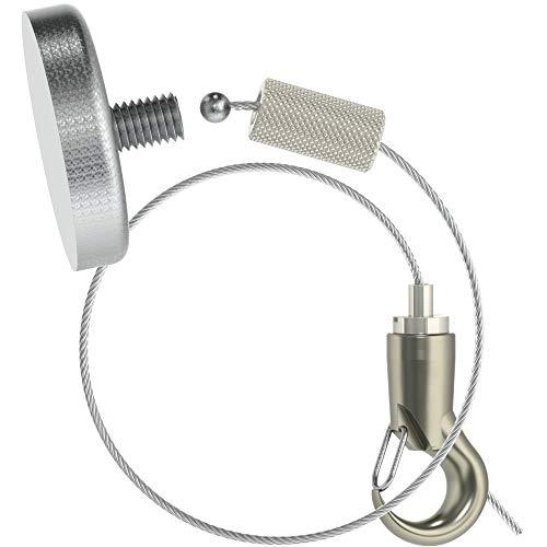 Abhängeset für magnetisierbare Decken, Topfmagnet Haftkraft 68kg, Kappe K-018, Drahtseil ø 1,5mm, L= 1500mm, Haken-Gripper