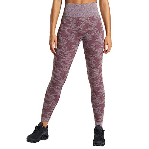 WodoWei Women's High Waisted Camo Seamless Leggings 7/8 Length Workout Yoga Pants.(W426-Berry red-S)