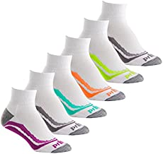 Prince Women's Short Quarter Performance Athletic Socks for Running, Tennis, and Casual Use (6 Pair Pack) (Women's Shoe Size 6-10 (US), White)