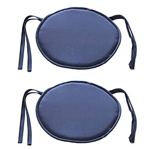 Bechases - Cuscino rotondo per sedia, con lacci, per casa, ufficio, giardino, patio, bar, confezione da 2 Blu