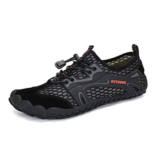 AFT AFFINEST Mens Womens Water Shoes Outdoor Hiking Sandals Aqua Quick Dry Barefoot Beach Sneakers Swim Boating Fishing Yoga Gym(Black-A,47)