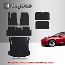 TOUGHPRO Floor Mat Accessories Compatible with Tesla Model 3 Long Range/Performance - All Weather - Heavy Duty - (Made in USA) - Black Rubber - Dec 2020-2021 (Complete Set)