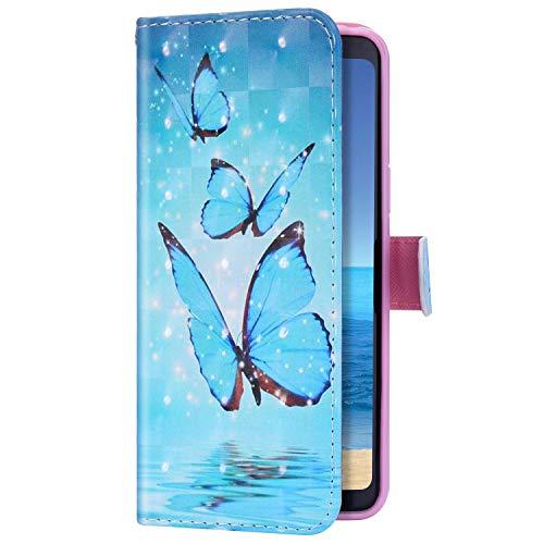 Uposao Kompatibel mit Huawei P20 Lite 2019 Hülle Leder Handyhülle 3D Bling Glitzer Glänzend Klapphülle Schutzhülle Leder Hülle Flip Bookstyle Case Kartenfächer Magnet,Blau Schmetterling