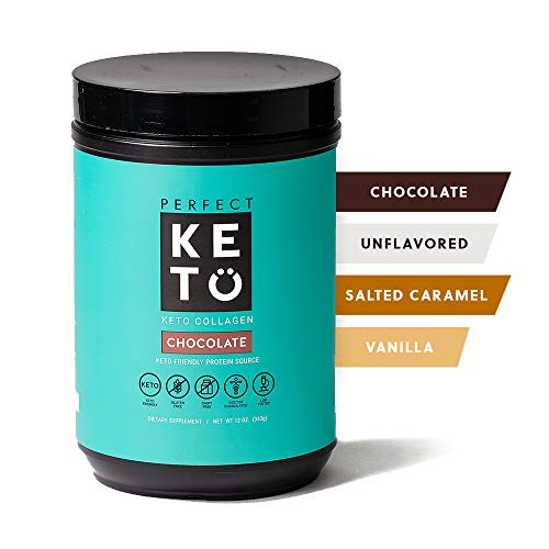 Perfect Keto Collagen Peptides Protein Powder with MCT Oil - Grassfed, GF, Multi Supplement, Best for Ketogenic Diets, Use in Coffee, Shakes for Women & Men – Chocolate